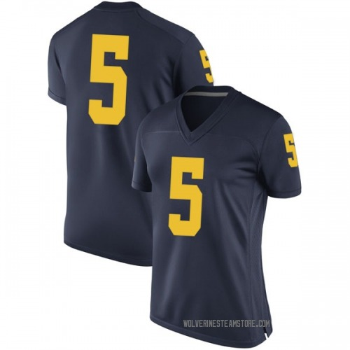 Women's Aubrey Solomon Michigan Wolverines Replica Navy Brand Jordan Football College Jersey