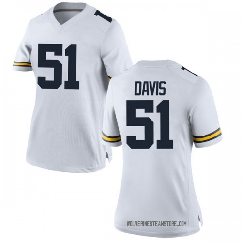 Women's Austin Davis Michigan Wolverines Game White Brand Jordan Football College Jersey