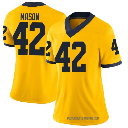 Women's Ben Mason Michigan Wolverines Limited Brand Jordan Maize Football College Jersey