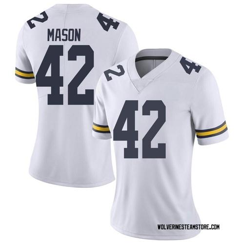 Women's Ben Mason Michigan Wolverines Limited White Brand Jordan Football College Jersey