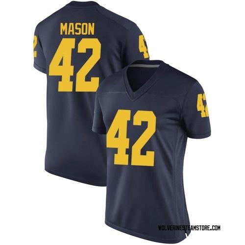 Women's Ben Mason Michigan Wolverines Replica Navy Brand Jordan Football College Jersey