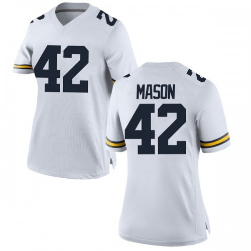 Women's Ben Mason Michigan Wolverines Replica White Brand Jordan Football College Jersey