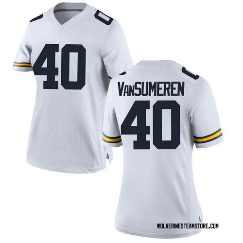 Women's Ben VanSumeren Michigan Wolverines Replica White Brand Jordan Football College Jersey