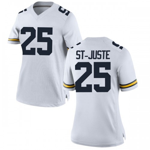 Women's Benjamin St-Juste Michigan Wolverines Replica White Brand Jordan Football College Jersey