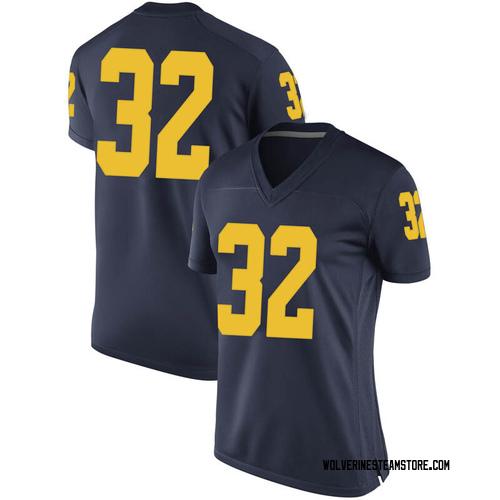 Women's Berkley Edwards Michigan Wolverines Game Navy Brand Jordan Football College Jersey