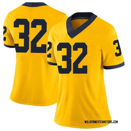 Women's Berkley Edwards Michigan Wolverines Limited Brand Jordan Maize Football College Jersey