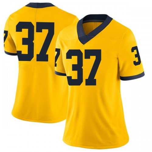 Women's Bradford Jones Michigan Wolverines Limited Brand Jordan Maize Football College Jersey
