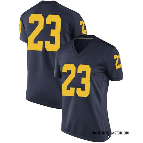 Women's Brandon Johns Jr. Michigan Wolverines Replica Navy Brand Jordan Football College Jersey