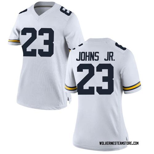 Women's Brandon Johns Jr. Michigan Wolverines Replica White Brand Jordan Football College Jersey