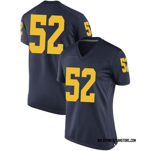 Women's Bryce Chamberlain Michigan Wolverines Game Navy Brand Jordan Football College Jersey