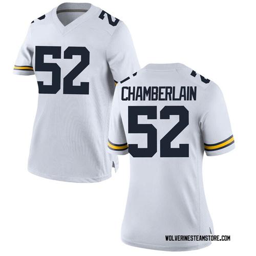 Women's Bryce Chamberlain Michigan Wolverines Game White Brand Jordan Football College Jersey