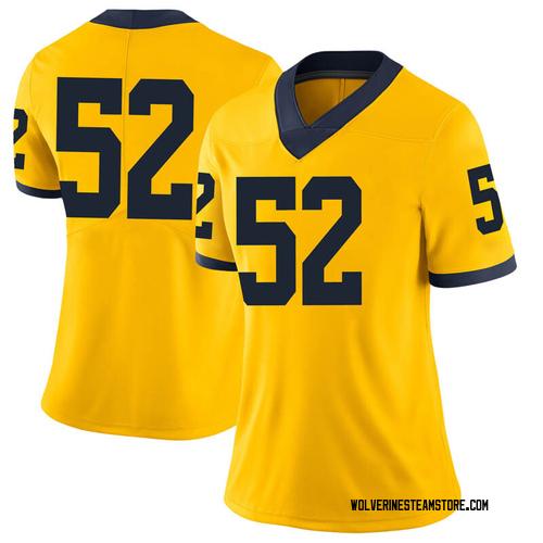 Women's Bryce Chamberlain Michigan Wolverines Limited Brand Jordan Maize Football College Jersey