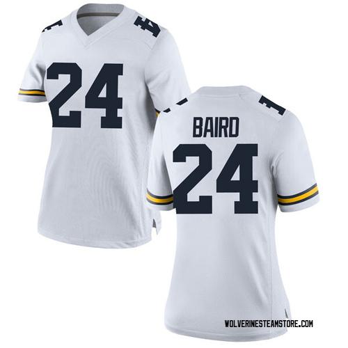 Women's C.J. Baird Michigan Wolverines Replica White Brand Jordan Football College Jersey