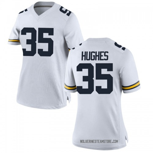 Women's Casey Hughes Michigan Wolverines Game White Brand Jordan Football College Jersey