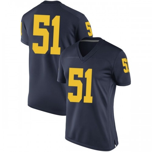 Women's Cesar Ruiz Michigan Wolverines Replica Navy Brand Jordan Football College Jersey