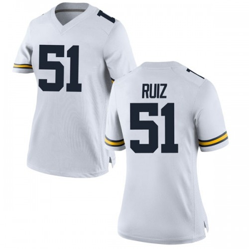Women's Cesar Ruiz Michigan Wolverines Replica White Brand Jordan Football College Jersey