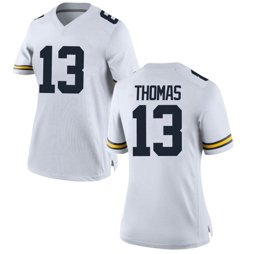 Women's Charles Thomas Michigan Wolverines Game White Brand Jordan Football College Jersey