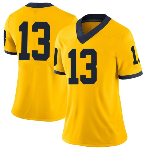 Women's Charles Thomas Michigan Wolverines Limited Brand Jordan Maize Football College Jersey