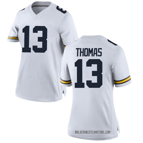 Women's Charles Thomas Michigan Wolverines Replica White Brand Jordan Football College Jersey