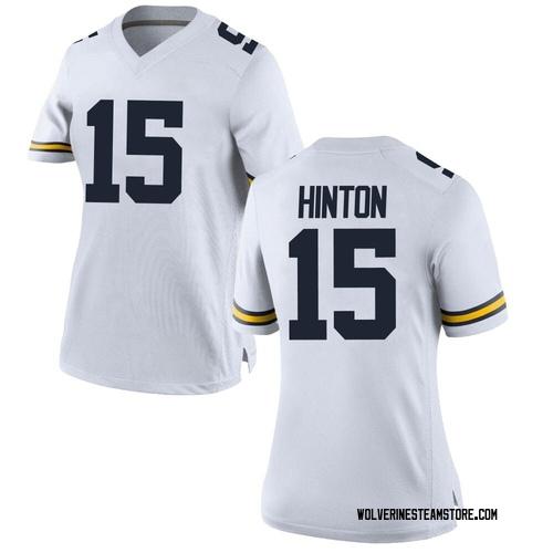 Women's Christopher Hinton Michigan Wolverines Game White Brand Jordan Football College Jersey