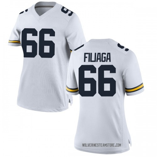 Women's Chuck Filiaga Michigan Wolverines Replica White Brand Jordan Football College Jersey