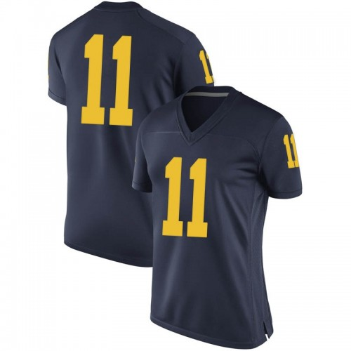Women's Colin Castleton Michigan Wolverines Replica Navy Brand Jordan Football College Jersey