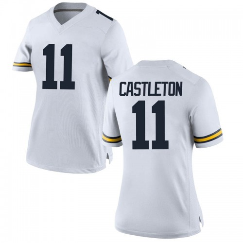 Women's Colin Castleton Michigan Wolverines Replica White Brand Jordan Football College Jersey