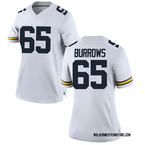 Women's Connor Burrows Michigan Wolverines Game White Brand Jordan Football College Jersey