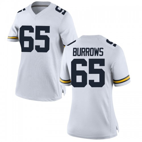 Women's Connor Burrows Michigan Wolverines Replica White Brand Jordan Football College Jersey