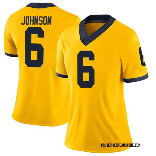 Women's Cornelius Johnson Michigan Wolverines Limited Brand Jordan Maize Football College Jersey