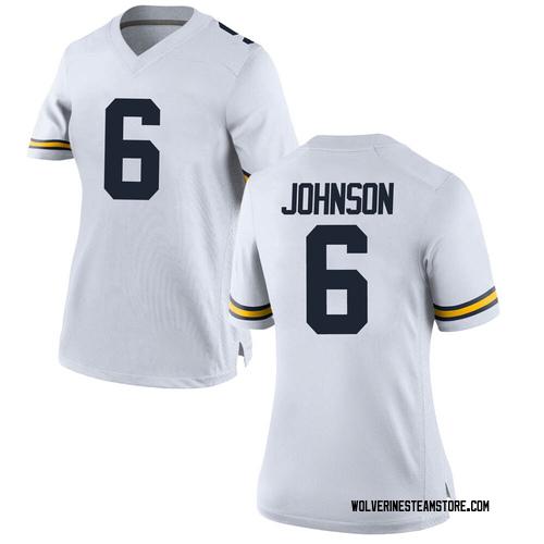 Women's Cornelius Johnson Michigan Wolverines Replica White Brand Jordan Football College Jersey