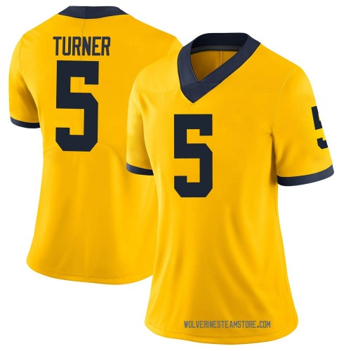 Women's DJ Turner Michigan Wolverines Limited Brand Jordan Maize Football College Jersey