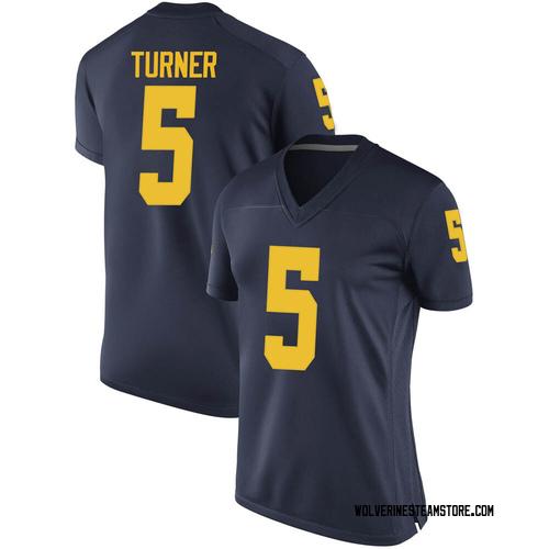 Women's DJ Turner Michigan Wolverines Replica Navy Brand Jordan Football College Jersey