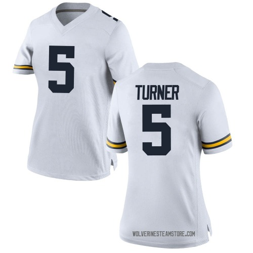 Women's DJ Turner Michigan Wolverines Replica White Brand Jordan Football College Jersey