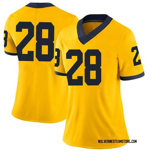 Women's Danny Hughes Michigan Wolverines Limited Brand Jordan Maize Football College Jersey