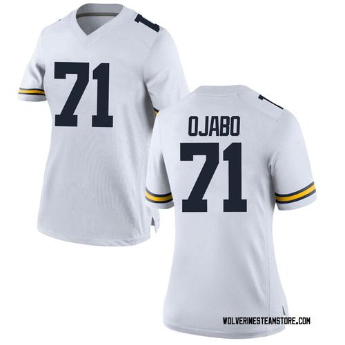 Women's David Ojabo Michigan Wolverines Replica White Brand Jordan Football College Jersey