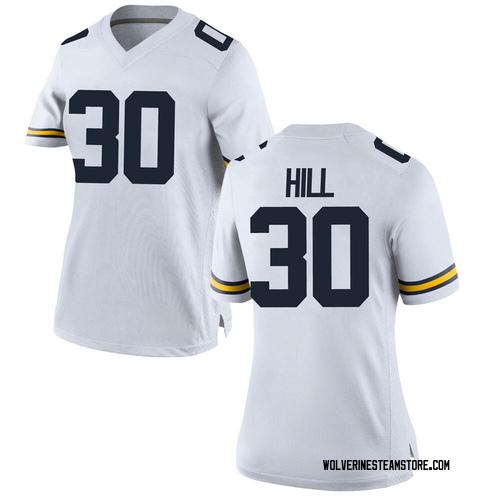 Women's Daxton Hill Michigan Wolverines Replica White Brand Jordan Football College Jersey