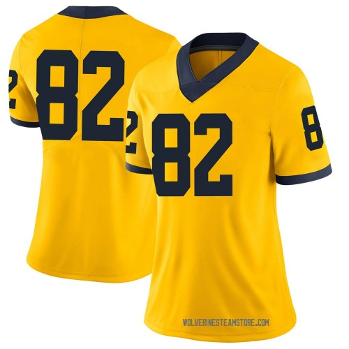 Women's Desmond Nicholas Michigan Wolverines Limited Brand Jordan Maize Football College Jersey