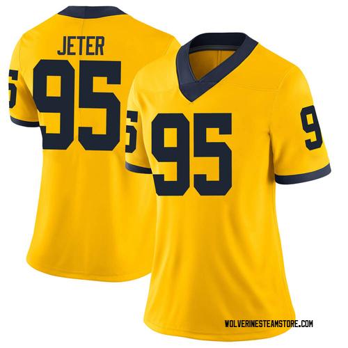 Women's Donovan Jeter Michigan Wolverines Limited Brand Jordan Maize Football College Jersey