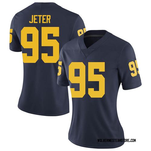Women's Donovan Jeter Michigan Wolverines Limited Navy Brand Jordan Football College Jersey