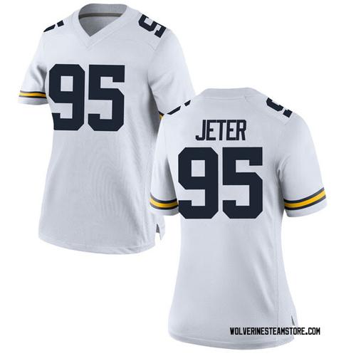 Women's Donovan Jeter Michigan Wolverines Replica White Brand Jordan Football College Jersey