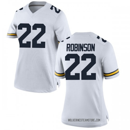 Women's Duncan Robinson Michigan Wolverines Game White Brand Jordan Football College Jersey