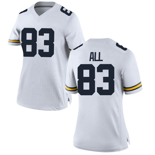 Women's Erick All Michigan Wolverines Replica White Brand Jordan Football College Jersey