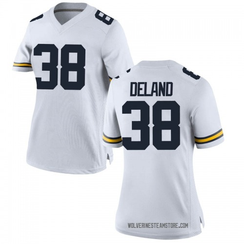 Women's Ethan Deland Michigan Wolverines Replica White Brand Jordan Football College Jersey