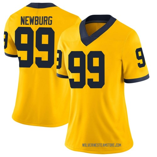 Women's Gabe Newburg Michigan Wolverines Limited Brand Jordan Maize Football College Jersey