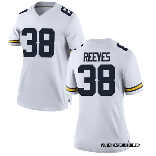 Women's Geoffrey Reeves Michigan Wolverines Game White Brand Jordan Football College Jersey