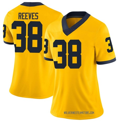 Women's Geoffrey Reeves Michigan Wolverines Limited Brand Jordan Maize Football College Jersey