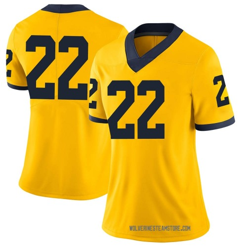 Women's George Johnson Michigan Wolverines Limited Brand Jordan Maize Football College Jersey