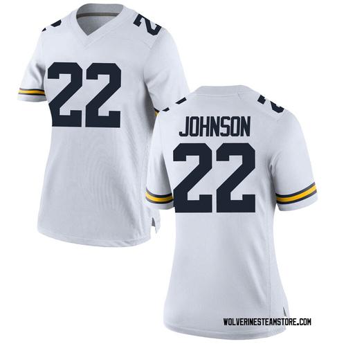 Women's George Johnson Michigan Wolverines Replica White Brand Jordan Football College Jersey