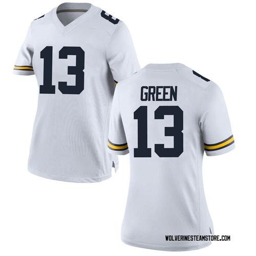 Women's German Green Michigan Wolverines Replica White Brand Jordan Football College Jersey